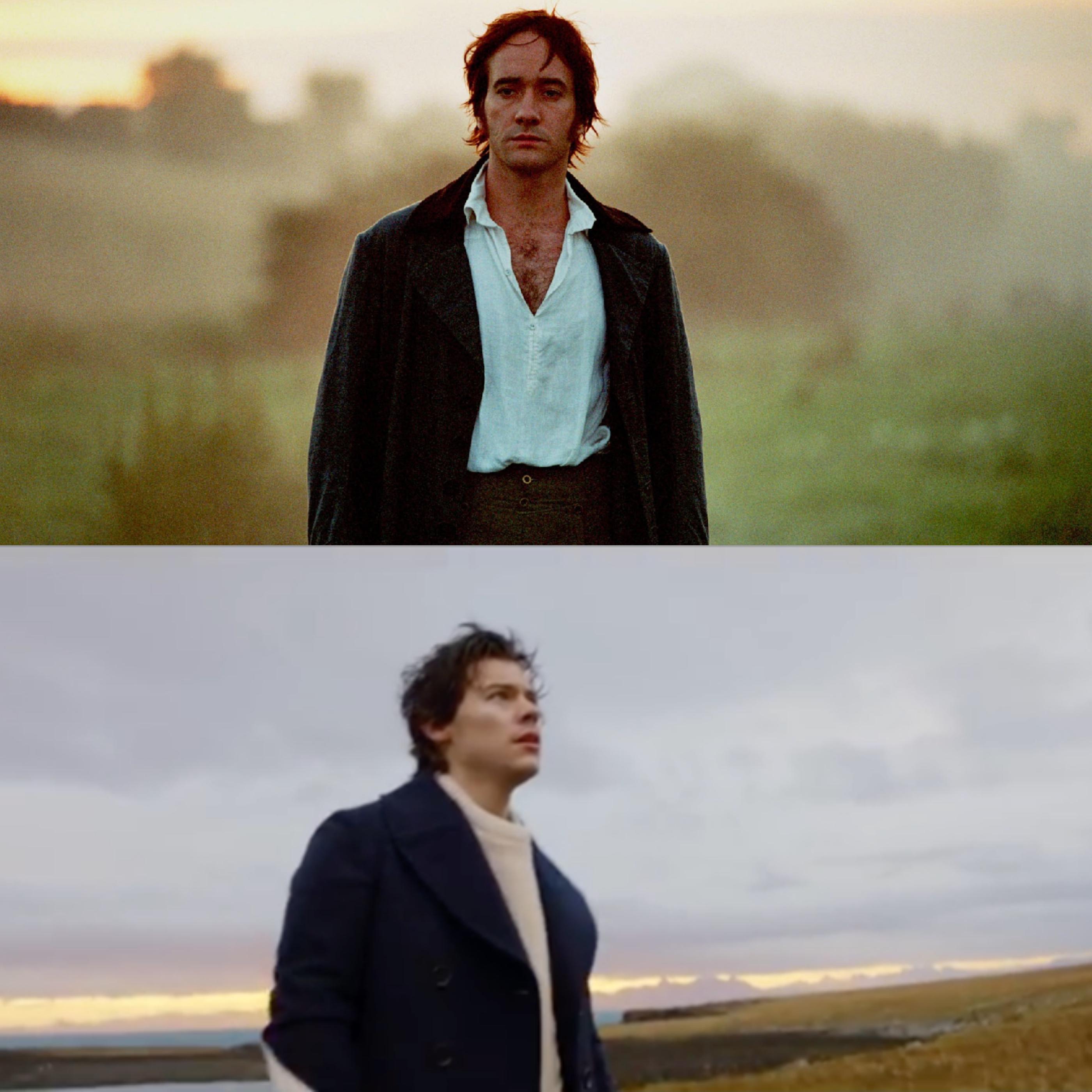 """Mr. Darcy em """"Orgulho e preconceito"""" e Harry Styles em """"Sign of the Times""""."""