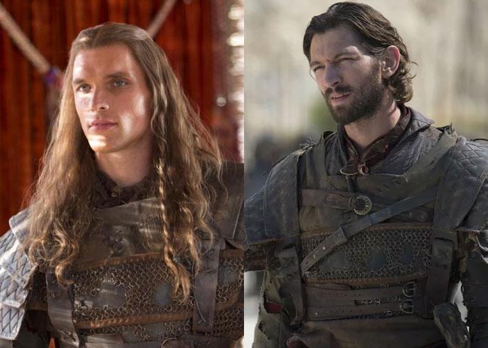 Daario Naharis de cabelo comprido, interpretado por Ed Skrein, e Daario de cabelo curto e barba, interpretado por Michiel Huisman.