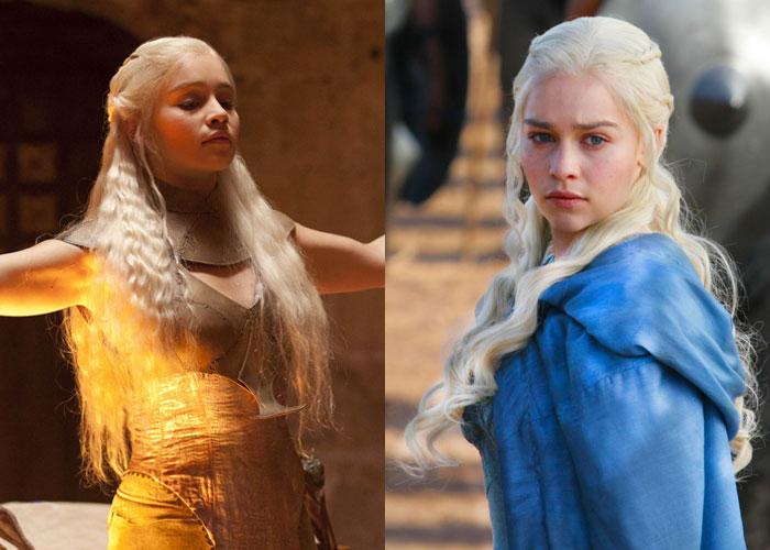 Daenerys de vestido amarelo e cabelo frisado e Daenerys de capa azul e cabelo cacheado.