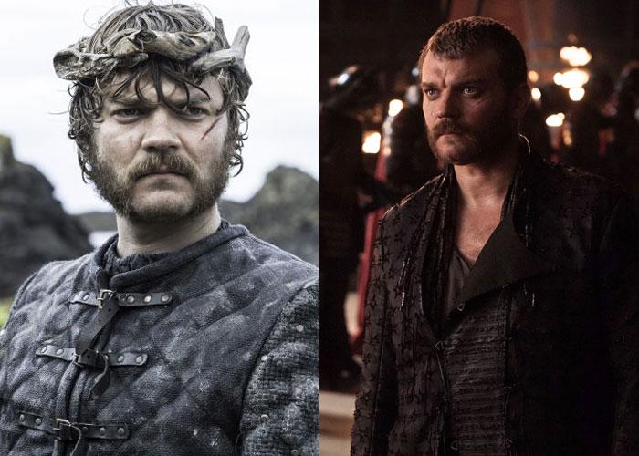 Dois looks de Euron Greyjoy: de cinza e cabelo mais bagunçado, e com um look mais simples e cabelo curtinho.