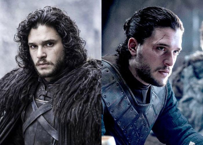Jon Snow com os cachos aparentes, depois com o cabelo preso em um coque.