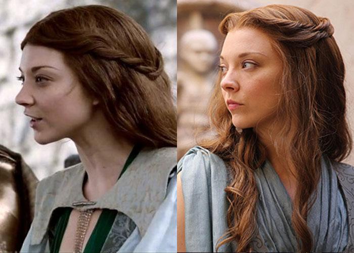 Margaery Tyrell de cabelo castanho escuro e, depois, com o cabelo clareado.
