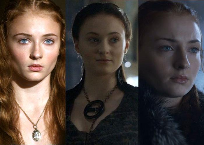 Sansa Stark em três imagens, cada vez com as sobrancelhas mais finas.