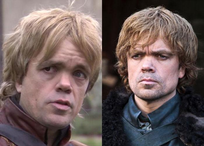 Tyrion de cabelo muito loiro e, depois, com o cabelo um pouco mais escuro