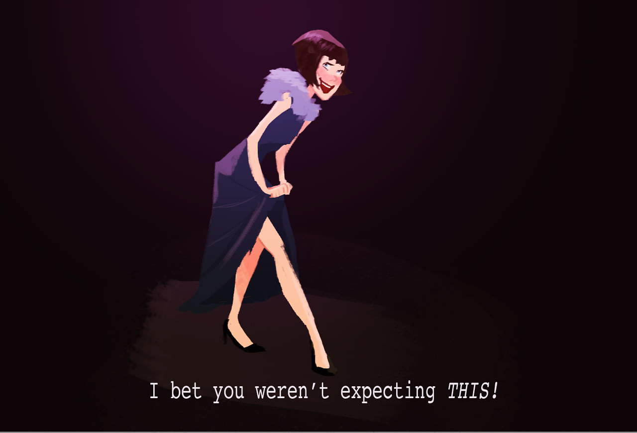 "Ilustração de Miss Fisher segurando a barra do vestido e dizendo ""I bet you weren't expecting THIS!"""